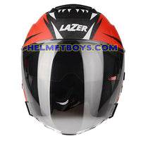LAZER TANGO sunvisor motorcycle helmet graphics design ONI RED front view