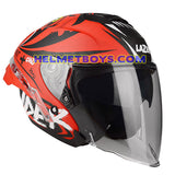 LAZER TANGO sunvisor motorcycle helmet graphics design ONI RED slant view