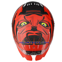 LAZER TANGO sunvisor motorcycle helmet graphics design ONI RED top view