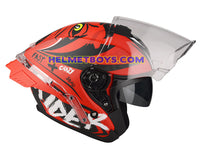 LAZER TANGO sunvisor motorcycle helmet graphics design ONI RED sunvisor view