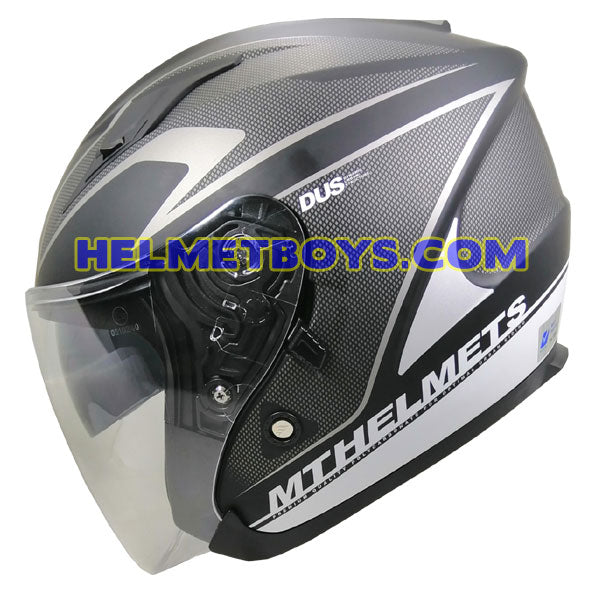 MT Motorcycle Helmet CIVVY MATT BLACK sunvisor side view