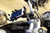 MWUPP motorcycle fingergrip smartphone holder handlebar install