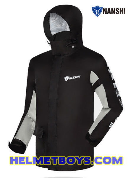 NANSHI motorcycle waterproof rainjacket black with hood