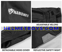 NANSHI motorcycle waterproof rainjacket velcro strap reflective