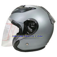 OZI 22 open face motorcycle helmet matt grey side view