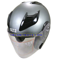 OZI 22 open face motorcycle helmet matt grey slant view