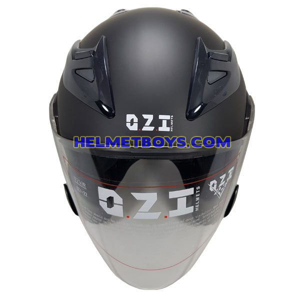 OZI 22 open face motorcycle helmet front view