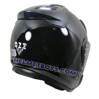 OZI 22 open face motorcycle helmet glossy black back view
