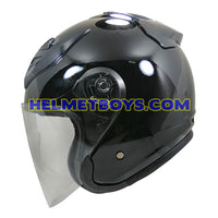 OZI 22 open face motorcycle helmet glossy black side view