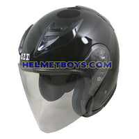 OZI 22 open face motorcycle helmet glossy black slant view