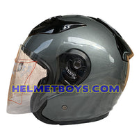 OZI 22 open face motorcycle helmet glossy grey side view