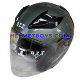 OZI 22 open face motorcycle helmet glossy grey front view
