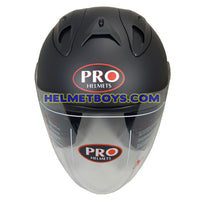 PRO 66 open face motorcycle matt black helmet front view