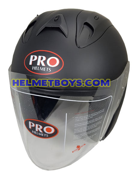 PRO 66 open face motorcycle matt black helmet slant view