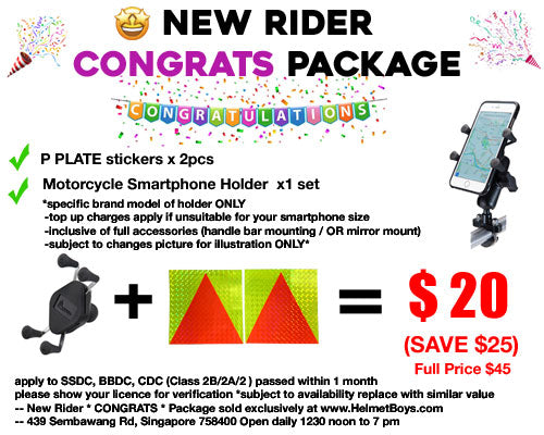 SSDC BBDC CDC new motorcycle rider CONGRATS package