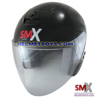 SMX open face motorcycle helmet slant view