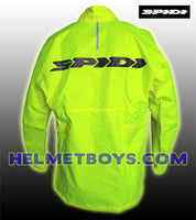 SPIDI premium waterproof motorcycle rainjacket yellow rear view