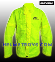 SPIDI premium waterproof motorcycle rainjacket yellow front view