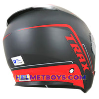 TRAX FG-TEC sunvisor motorcycle helmet matt red slant backflip  view