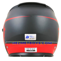 TRAX FG-TEC sunvisor motorcycle helmet matt red back full view