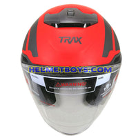 TRAX FG-TEC sunvisor motorcycle helmet matt red top view