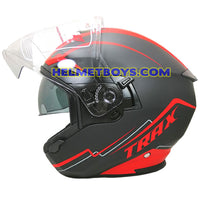 TRAX FG-TEC sunvisor motorcycle helmet matt red side view