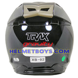 TRAX GRAVITY open face motorcycle helmet back view