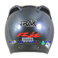 TRAX MOTO-RR open face motorcycle helmet glossy grey back view