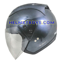 TRAX MOTO-RR open face motorcycle helmet glossy grey side view