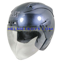 TRAX MOTO-RR open face motorcycle helmet glossy grey slant view