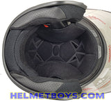 TRAX MOTO-RR open face motorcycle helmet matt black interior view