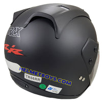 TRAX MOTO-RR open face motorcycle helmet matt black back view