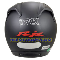 TRAX MOTO-RR open face motorcycle helmet matt black back full view