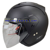 TRAX MOTO-RR open face motorcycle helmet matt black side view