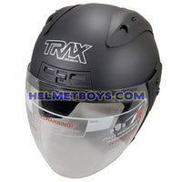 TRAX MOTO-RR open face motorcycle helmet matt black slant view