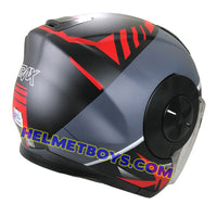 TRAX T735 sunvisor motorcycle helmet grey red back view