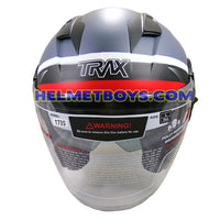 TRAX T735 sunvisor motorcycle helmet grey red front view