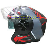 TRAX T735 sunvisor motorcycle helmet grey red side view