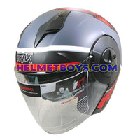 TRAX T735 sunvisor motorcycle helmet grey red slant view