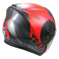 TRAX T735 sunvisor motorcycle helmet red black backflip view