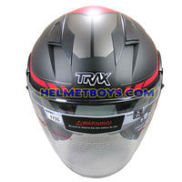 TRAX T735 sunvisor motorcycle helmet red black front view