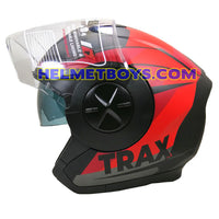 TRAX T735 sunvisor motorcycle helmet red black side view