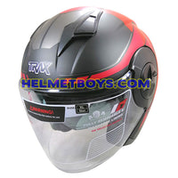 TRAX T735 sunvisor motorcycle helmet red black slant view