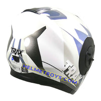 TRAX T735 sunvisor motorcycle helmet white blue backflip view