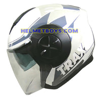 TRAX T735 sunvisor motorcycle helmet white blue side view