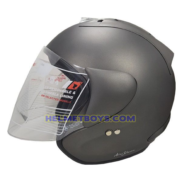 TRAX RACE ZR motorcycle helmet matt grey side view