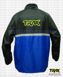 TRAX PVC motorcycle raincoat blue back view
