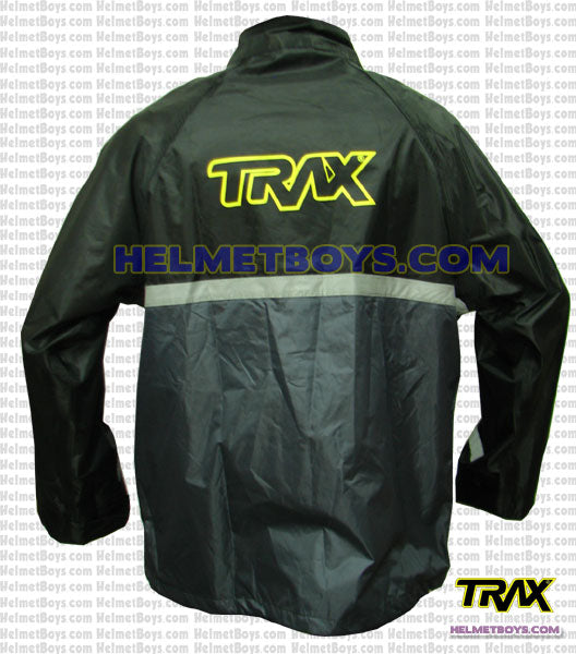 TRAX PVC motorcycle raincoat grey back view