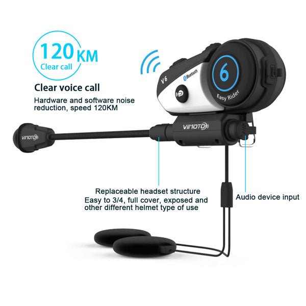 ViMOTO V6 Motorcycle Bluetooth Headset audio crystal