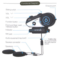 ViMOTO V6 Motorcycle Bluetooth Headset features function